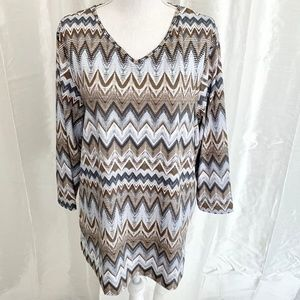PERFECT for FALL     PRETTY PRINT TUNIC     XLARGE